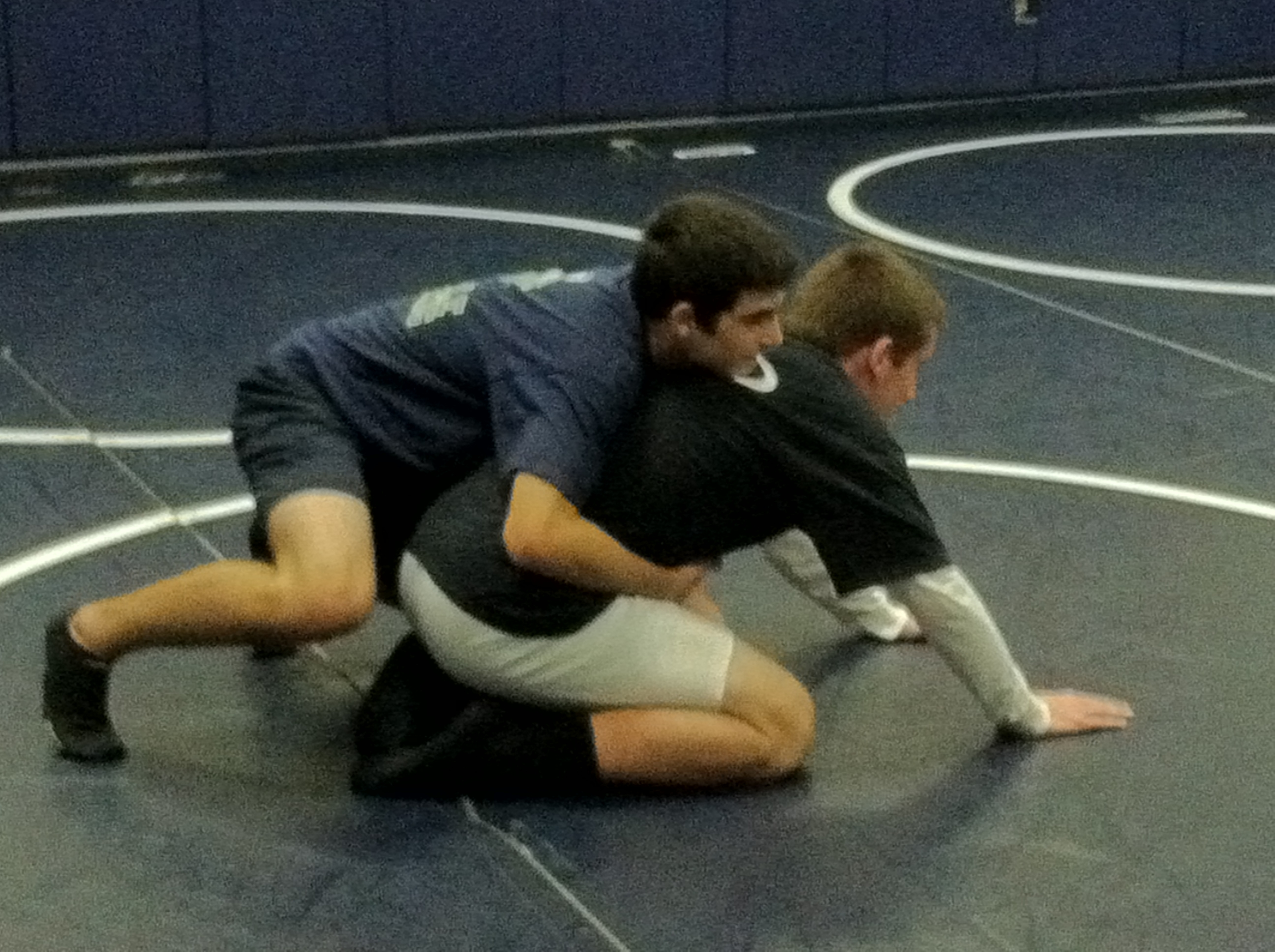 Jackson Tucker and Zach Cates practice their technique. The Leesville Road wrestling squad faces off against East Wake and Garner on December 2.