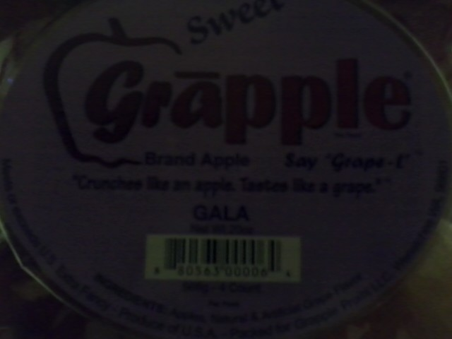 The grapple is a strange fruit that is suppose to taste like an apple mixed with grape. It is created through infusing grape flavor into a regular gala apple.