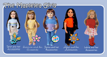 """A few of the Maplelea Girls, or, """"Canadian Girl Dolls"""" as they appear on their website."""