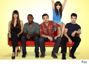 The cast of New Girl with the eccentric Deschanel lighting up the scene. Photo courtesy of fox.com