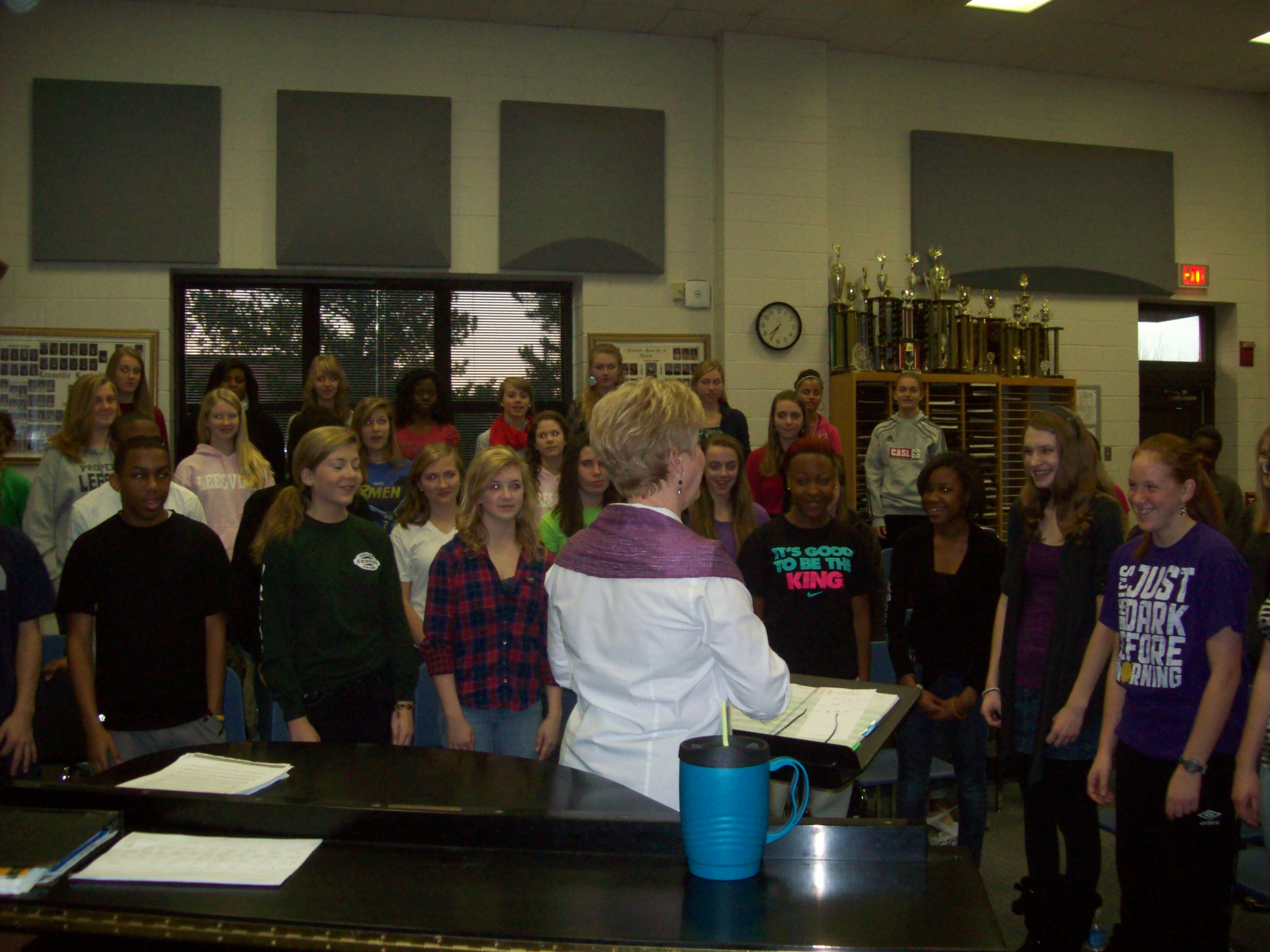 Beginning chorus practices for the concert. Chorus is a two semester class.