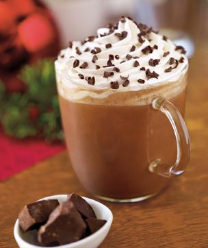 Topped with whipped cream and chocolate, the peppermint mocha at Starbucks is the perfect drink for the season. And at only $3.75 for a tall, the peppermint mocha is definitely a bargain. Photo courtesy of starbucks.com
