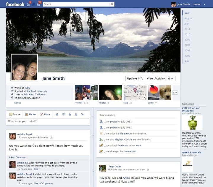 Facebook timeline will help users display their information in a whole new way. Some consider the new layout to be very confusing, but many people are quickly warming up to it.  Photo Courtesy of zd.net.