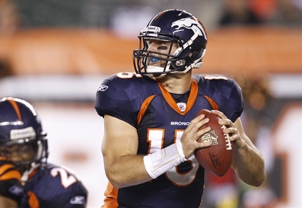 Everyone's favorite heartthrob takes the snap from under center. Tebow's throwing stance is a major topic of discussion amongst critics.Photo courtesy of everydayjoe.com