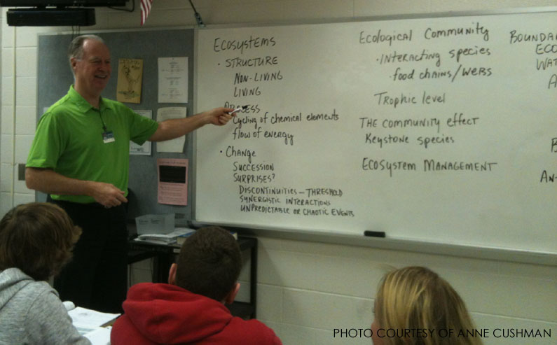 Dr. Stone teaches his AP class about environmental science. According to mathandscience.org, students who take at least one AP class in high school have a 59% chance of graduating from a four year college.