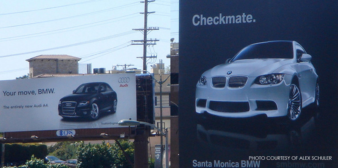 Audi and BMW have the playful competition thing down pat. These billboards prove it.