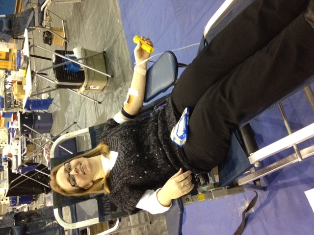 Mrs. Caudill, a CTE instructor at Leesville Road High School, takes time out of her day to donate blood to the Red Cross and save lives.
