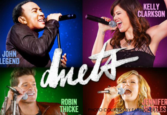 Duets, a new television singing competition, forces contestants to sing duets with superstars. Duets airs on ABC on Thursday nights at 8 pm.