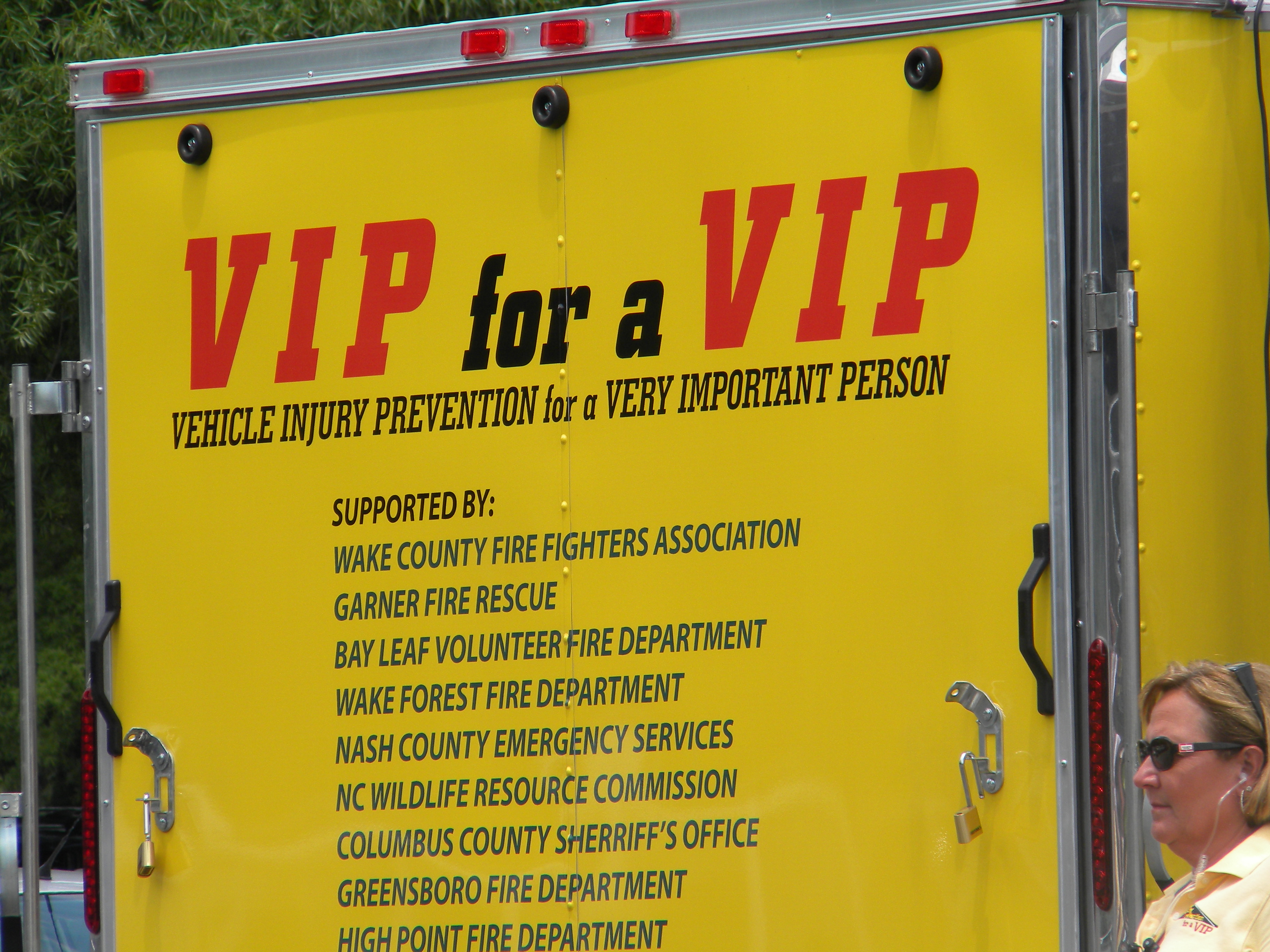 Pictured here is the VIP for VIP trailer during the second part of the presentation. For this outdoor session, the organization acted out a scenario where a young teen crashed into a telephone pole after drinking and driving.