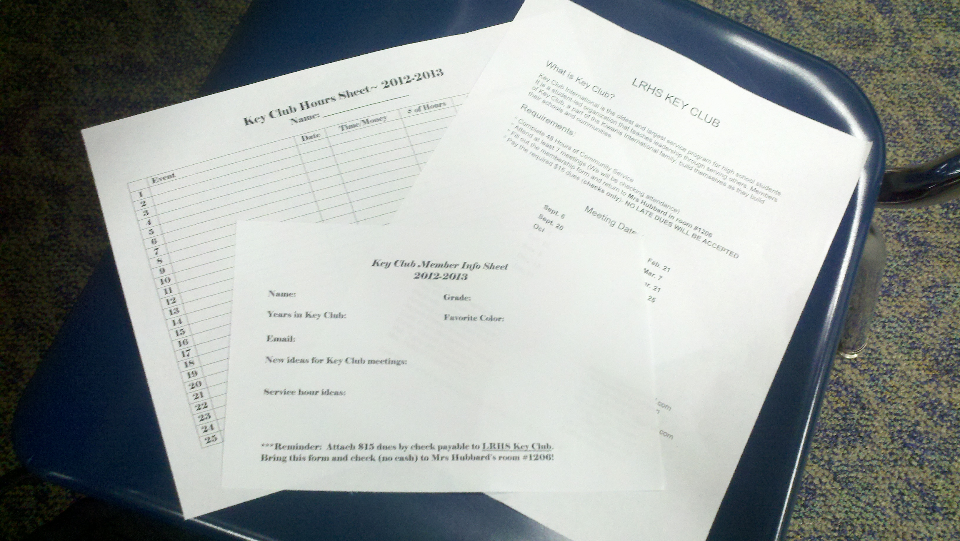 Students wishing to join Key Club received many forms, including an hours sheet and an information sheet.  Key Club is a service program for high school students.