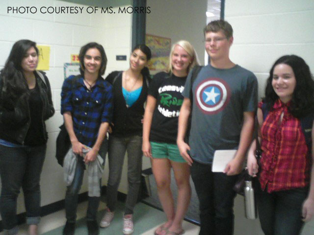 Pictured left, Jasmine Axelrod, AJ Sanchez, Carolina Mares, Emily Patton, and Michael Koenig posing outside Ms. Morris' class in the Murphy building. Future Teachers of America provides Leesville students the opportunity to tutor and organize teacher appreciation events.