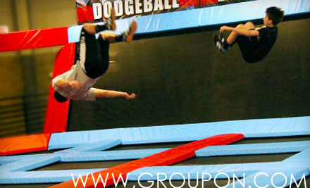 Two boys show off their acrobatic skills. Defy Gravity has over 30 trampolines to jump on.