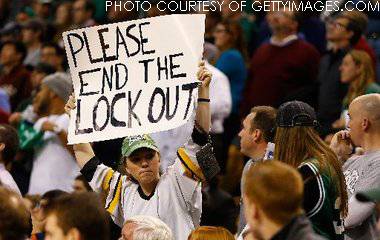 A desperate fan pleads for an end to the NHL lockout at another sports event. She's not the only one longing for the sport to return to the rinks.
