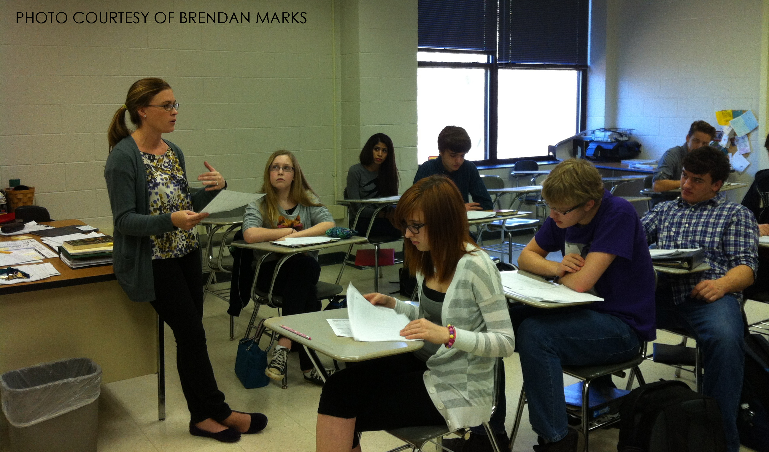 Mrs. McGarry leads her sophomore English class in a casual discussion. Next year, McGarry, as well as Mr. Espinal, will serve as administrative interns at other area high schools.