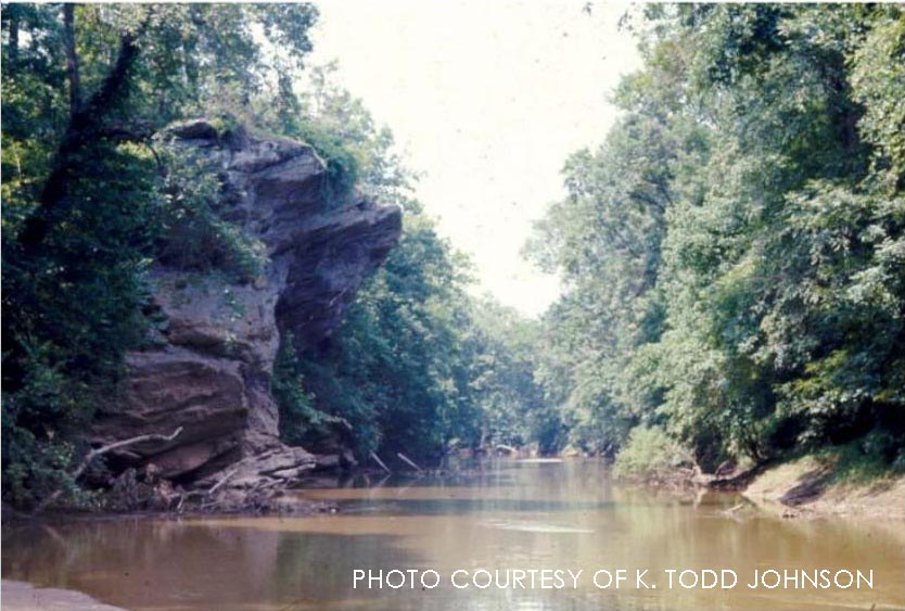 In 1969, an unknown canoer snapped this passing picture of the Zeagle's Rock stretch of the Neuse River. 44 years later, it may be the only publicly-available color photo of the rock, and shows just how remarkable the cliff was in comparison to the surrounding typical North Carolina landscape.