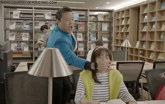 "A picture from Psy's new music video ""Gentleman.""  The video features Psy performing a number of tricks on his dates before finding a woman just as tricky as he is-- the song brings up an interesting point about being chivalrous and a gentleman."