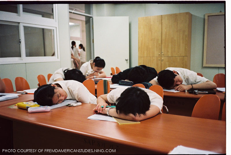 Students sleeping while in class.  Children cannot function well while on a limited amount of sleep, caused by schools starting extremely early.