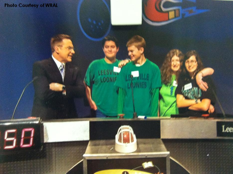 "Leesville's Brain Game team celebrates after winning a competition.  ""Come out and support us!"" said Ms. Jones."