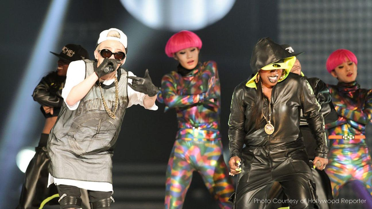 G-Dragon and Missy Elliott take the stage at KCON 2013 in LA. Missy is one of the many collaborations on G-Dragon's star-studded album Coup D'etat.