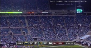 A largely empty EverBank field, home of the Jacksonville Jaguars, during a Dec. 5, 2011, loss to the San Diego Chargers. The game was televised nationally on ESPN's Monday Night Football.