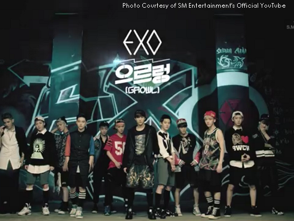 """Korean boy band EXO poses at the end of their teaser for """"Growl."""" The song is featured on their first full length album XOXO."""