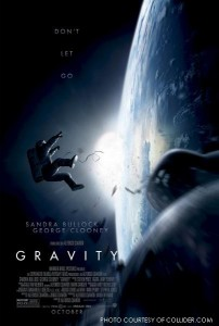 "In the movie poster for Gravity, one of the astronauts is shown drifting into space with the words ""Don't Let Go"" printed above them. This is summarizing the main idea of the storyline which is to hang on to anything while trying to return to earth safely, all while being adrift in space."