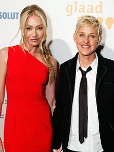 Ellen Degeneres, a lesbian talk show host, poses with her wife Portia De Rossi. They both are advocates for the Trevor Project, a non-profit organization created to focus on suicide prevention among LGBTQ youth.