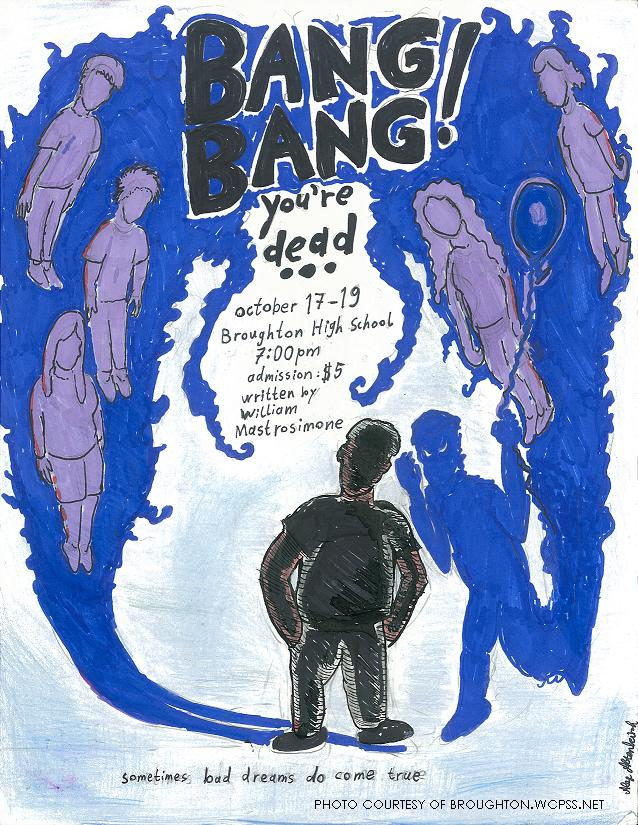 'Bang Bang you're dead''s poster is laid out very well. The large blue cloud represents Josh's conscience and the five purple figures in it represent the five kids he killed. Emerging from the blue cloud is a human shaped figure which represents Josh's shadow self, who is holding a balloon and a blade.