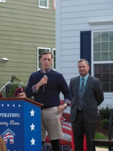 Nathan Rimpf, Leesville graduate, humbly addresses his friends, family and supporters. He was Operation: Coming Home's sixth recipient of a home.