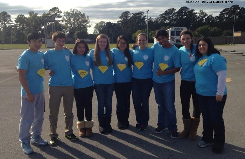 Pierce Do, Grant Nelson, Courtney Nelson, Hannah Daley, Emilie Burgess, Alli Perrin, Shafwat Islam and Brianna Reid, officers of the Executive Council and officers of the Freshman Council, are accompanied by Keysha Mayfield, exec advisor, on their trip to Havelock. They took part in the NCASC Eastern District's Conference on Saturday, October 26.