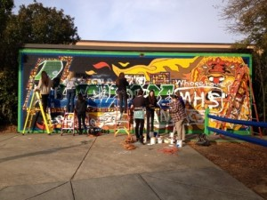 Art students have already begun priming and repainting the wall.