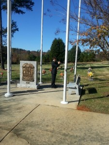 "The scene is emotional and full of patriotism as Peter Marino plays both ""Amazing Grace"" and ""Taps"" on the trumpet. Marino was nominated by his band director to play for veteran's families at Raleigh Memorial Park Monday, November 11."