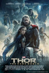 In this movie poster for Thor: The Dark World, Thor, played by Chris Hemsworth, is shown with a fierce stance as Jane Foster, played by Natalie Portman, stands against him for protection. Behind them is Loki played by Tom Hiddleston, with his menacing smile, returning after his failed attack on New York City in The Avengers.