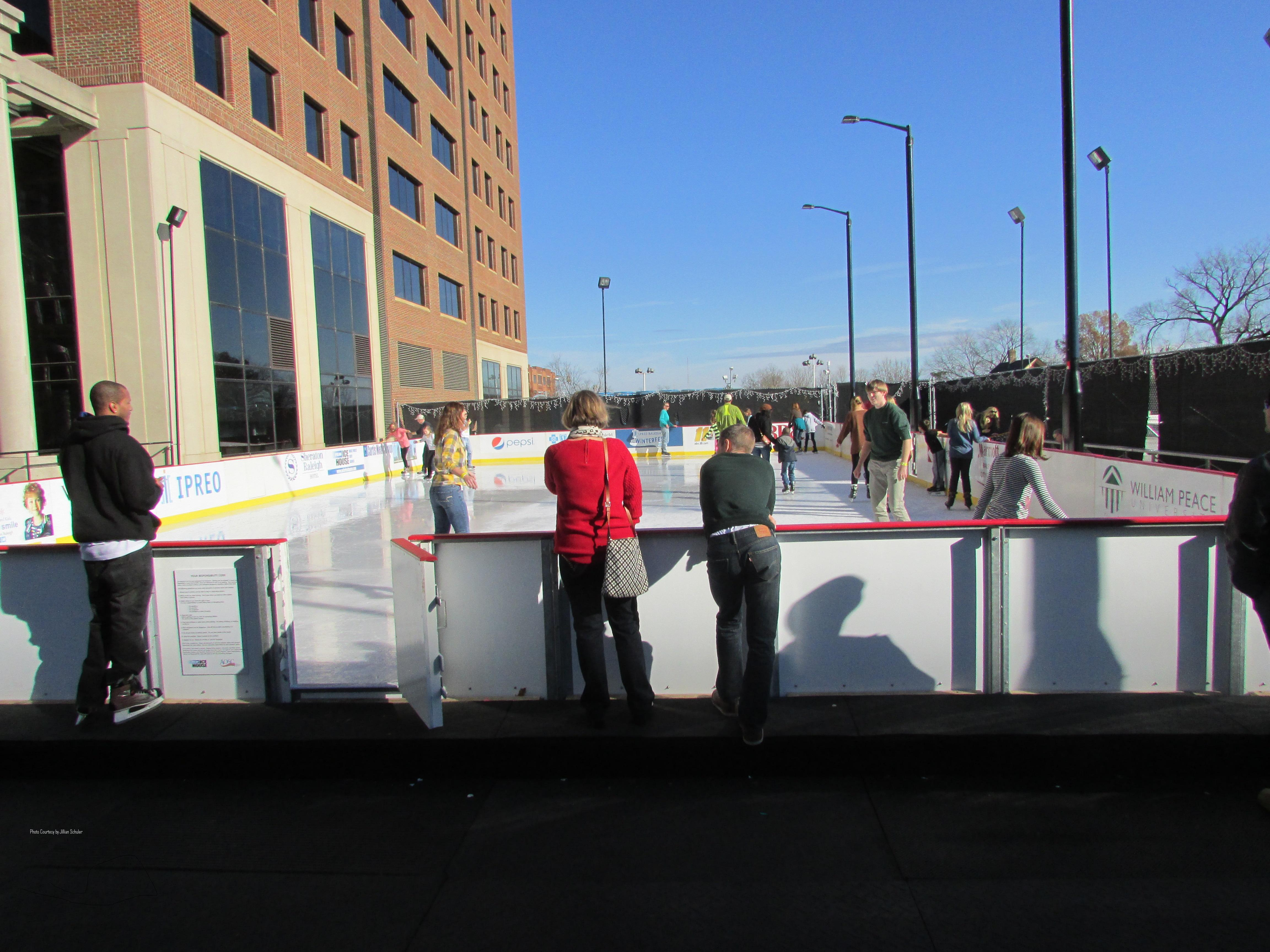 Raleigh's winterfest ice rink is located in downtown Raleigh. Because of Raleigh's warm weather, the rink is small and the price to maintain it is costly.