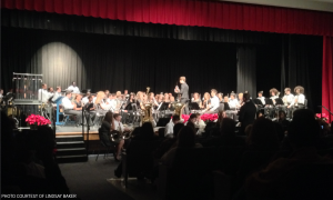 The Ninth Grade and Concert Band joined together and performed their Christmas concert with much exuberance and class. For the band's final song, they were joined by the LRMS 8th Grade Band.