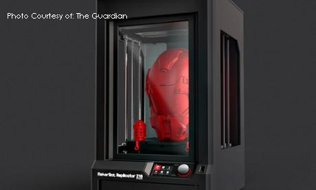 The MakerBot Z18 3D printer produces large objects out of various materials and filament. Many schools and businesses are now purchasing 3-D printers as prices depreciate to affordable levels.