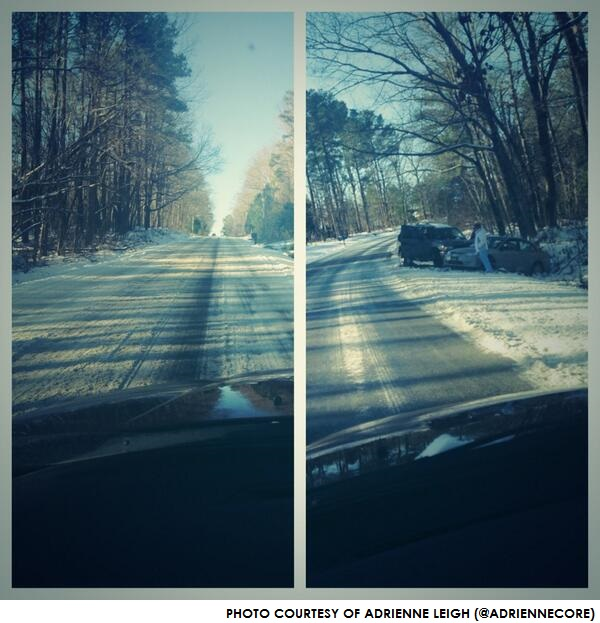 A wreck accentuated the slippery conditions on this road near Holly Springs.
