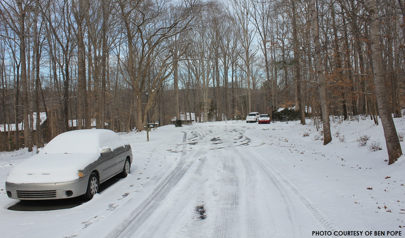 Travelers awoke Wednesday morning to snow- and ice-covered streets throughout the county. Neighborhood cul-de-sacs such as this one, usually not visited by snowplows, were the biggest concern.