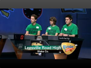 (from left to right) JC Zargo, Max Gordon and Zach Gutierrez on Brain Game. The team won second place and will continue in round two as a wild card.