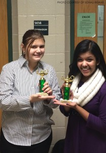 Sonali Biswas, senior, and Grace Egly, freshman, each placed 6th in their respective competitions at the tournament. Sonali placed in Student Congress and Grace in novice Lincoln-Douglas debate.