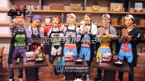 The members of GOT7 cheer enthusiastically as they prepare for a fun cooking challenge. They have already picked teams (from left to right): Bam Bam, Mark and Jackson are The Foreigner Team a.k.a. AmeriThaiKong; JB and Yugeom are Team Tojong; finally, JR and Youngjae make up the Jinpo Team.