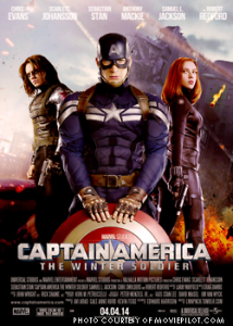 Captain America (Chris Evans) is in the center next to his ally, Black Widow (Scarlett Johansson/ Right) and his newfound enemy, The Winter Soldier (Sebastian Stan/ Left). The movie is currently ranked number one in the box office with a gross of $95,023,721.