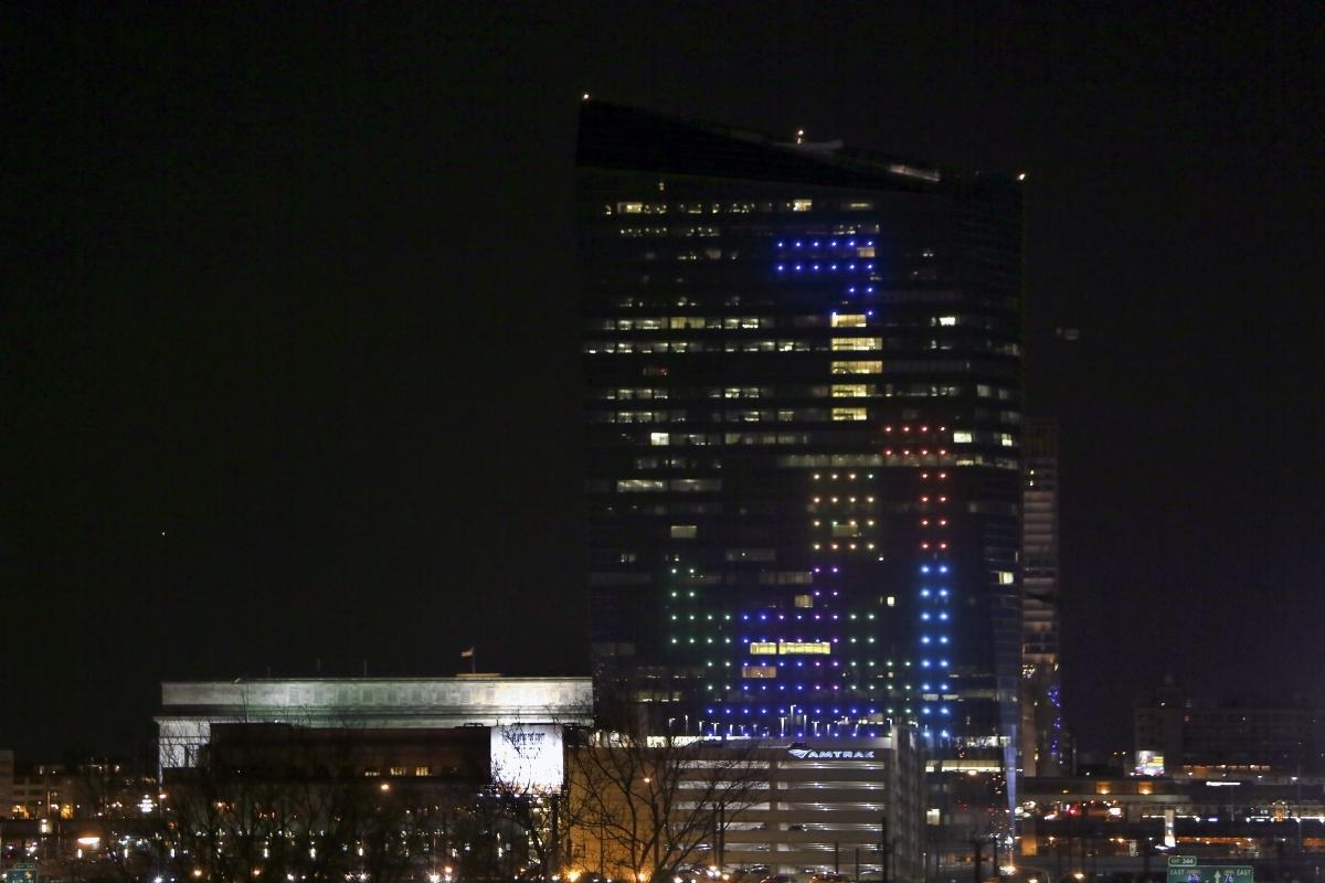 "This 29-story Tetris designed by Frank Lee was ""a way of uniting the city of Philadelphia,"" Lee said in a Slate article. The Guinness Book of World Records is very seriously considering him as creating the largest game of Tetris."