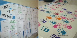 On Wednesday, April 16, students gathered to take the pledge against dating violence. Students handprinted large posters, signing their names, promising to use their hands for good and not harm in relationships.