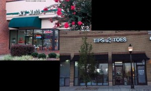 Tips 2 Toes and N.V. Nails have great appearances, however are very different when it comes to the services. Tips 2 Toes has an overall more relaxed and friendlier atmosphere and consistency when compared to N.V. Nails.