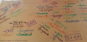 Written in dry erase marker, this desk is full of the names of several boy bands, followed by the names of their members and then their record labels. These could be signs of an obsession in full bloom.