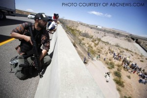 Eric (who abstained to give his full name), an independent militiamen from Idaho, camps on an overpass in defense of the federal troops. In an interview with an independent protester, he urged that the people continue to confront force with force in defense of liberty and that issues like this arise all of the time; a similar case where the BLM is encroaching onto 90,000 acres is Texas is also currently ongoing.
