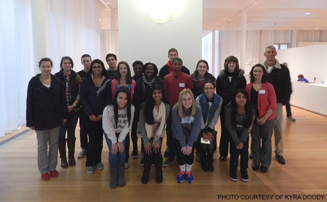 The 2013-2014 French Club posed for a photo at the North Carolina Museum of Art. (Photo used with permission of Kyra Doody.)