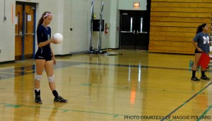 Rebecca Rice prepares to serve. Leesville lost 3-2 against Millbrook Tuesday night.