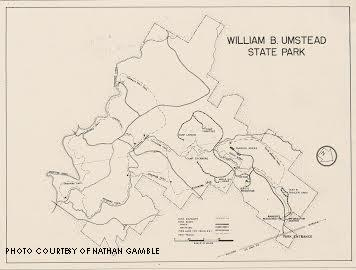 The 1937 map of Umstead. Some trails have been shut down and added since this copy was printed.